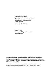 2007. CSOIL 2000: an exposure model for human risk assessment of soil contamination A model description