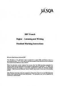 2007 French. Higher Listening and Writing. Finalised Marking Instructions