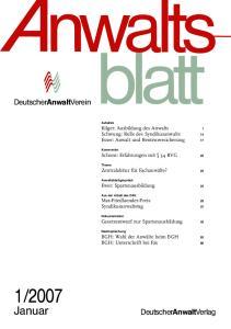 2007. Januar. DeutscherAnwaltVerein. DeutscherAnwaltVerlag