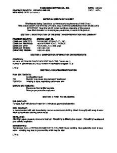 2007 MATERIAL SAFETY DATA SHEET