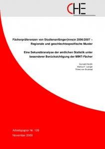 2007 Regionale und geschlechtsspezifische Muster