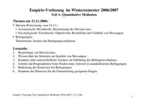 2007 Teil A: Quantitative Methoden Themen am :
