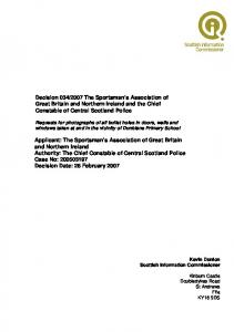 2007 The Sportsman s Association of Great Britain and Northern Ireland and the Chief Constable of Central Scotland Police