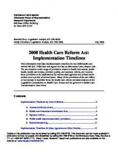 2008 Health Care Reform Act: Implementation Timelines
