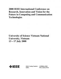 2008 IEEE International Conference on Research, Innovation and Vision for the Future in Computing and Communication Technologies
