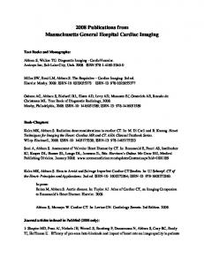 2008 Publications from Massachusetts General Hospital Cardiac Imaging