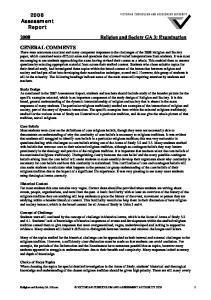 2008 Religion and Society GA 3: Examination