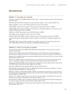 2008 REPORT ON THE GLOBAL AIDS EPIDEMIC REFERENCES