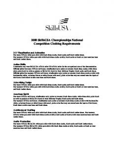 2008 SkillsUSA Championships National Competition Clothing Requirements