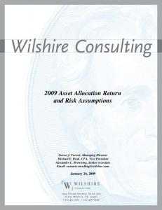 2009 Asset Allocation Return and Risk Assumptions