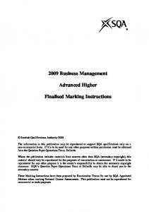 2009 Business Management. Advanced Higher. Finalised Marking Instructions