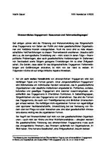 2009. Ehrenamtliches Engagement: Ressourcen und Rahmenbedingungen 1