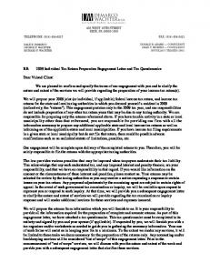 2009 Individual Tax Return Preparation Engagement Letter and Tax Questionnaire