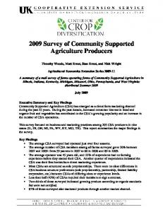 2009 Survey of Community Supported Agriculture Producers