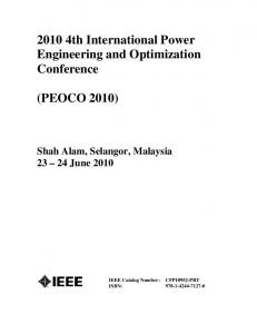 2010 4th International Power Engineering and Optimization Conference
