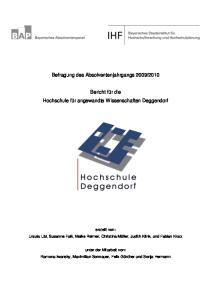 2010. Bericht für die Hochschule für angewandte Wissenschaften Deggendorf