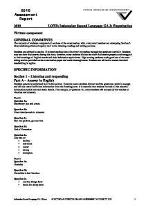 2010 LOTE: Indonesian Second Language GA 3: Examination