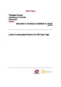 2010. ucode Encoding Specifications for QR Code Tags