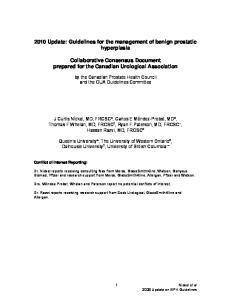 2010 Update: Guidelines for the management of benign prostatic hyperplasia