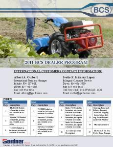 2011 BCS DEALER PROGRAM