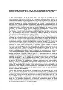 2011, DE 28 DE ENERO, RELATIVO A LA MEJORA DE LA CALIDAD DEL AIRE