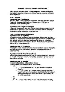 2011 FISA ADAPTIVE ROWING REGULATIONS