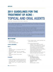 2011 GUIDELINES FOR THE TREATMENT OF ACNE :