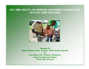 2011 HERD HEALTH AND BREEDING MANAGEMENT CALENDAR FOR GOATAND SHEEP PRODUCERS