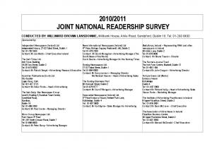 2011 JOINT NATIONAL READERSHIP SURVEY