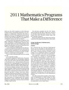 2011 Mathematics Programs That Make a Difference
