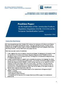 2011) on the European Standardization System