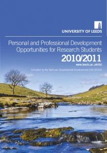 2011. Personal and Professional Development Opportunities for Research Students