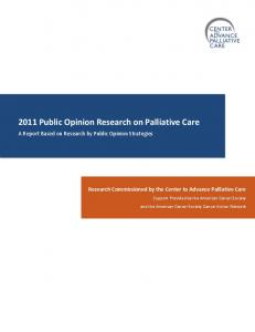 2011 Public Opinion Research on Palliative Care
