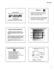 2011. Scope of Dietetics Practice Framework