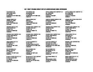 2011 WEST VIRGINIA DIRECTORY OF UNDERGROUND MINE ADDRESSES