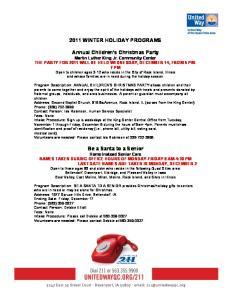 2011 WINTER HOLIDAY PROGRAMS