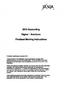 2012 Accounting. Higher Solutions. Finalised Marking Instructions