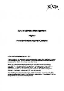 2012 Business Management. Higher. Finalised Marking Instructions
