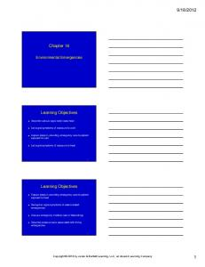 2012. Chapter 16. Learning Objectives. Learning Objectives. Environmental Emergencies