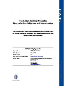 2012: Data collection, indicators, and interpretation