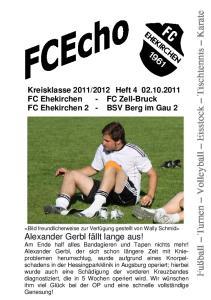 2012 Heft FC Ehekirchen - FC Zell-Bruck FC Ehekirchen 2 - BSV Berg im Gau 2