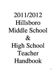 2012 Hillsboro Middle School & High School Teacher Handbook
