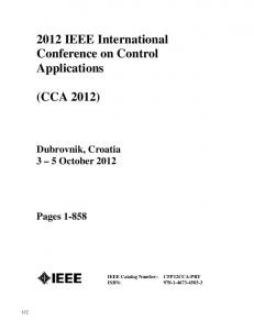 2012 IEEE International Conference on Control Applications
