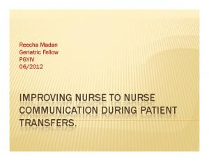 2012 IMPROVING NURSE TO NURSE TRANSFERS