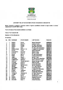2012 INTAKE FOR GENERIC CANDIDATES