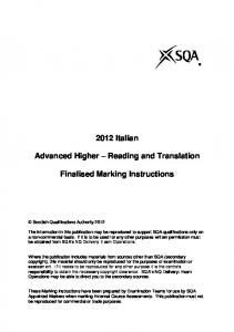 2012 Italian. Advanced Higher Reading and Translation. Finalised Marking Instructions