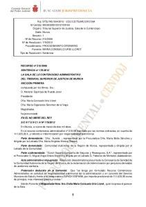 2012 LA SALA DE LO CONTENCIOSO ADMINISTRATIVO DEL TRIBUNAL SUPERIOR DE JUSTICIA DE MURICA SECCION PRIMERA