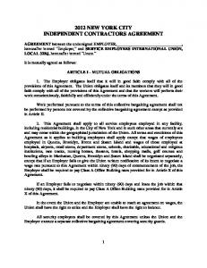 2012 NEW YORK CITY INDEPENDENT CONTRACTORS AGREEMENT