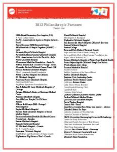2012 Philanthropic Partners *Partial List