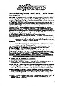 2012 Rules & Regulations for Officials & Licensed Drivers. 1. INTRODUCTION